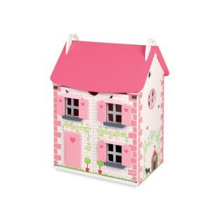 Ružový drevený domček pre bábiky Mademoiselle Janod