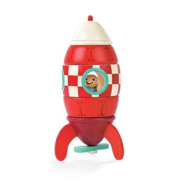 Drevená magneetická skladačka raketka Janod